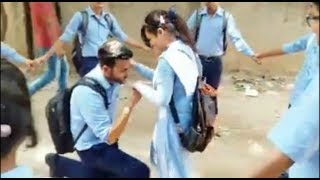   Very Cute young love   School Boy proposing his girl friend in real