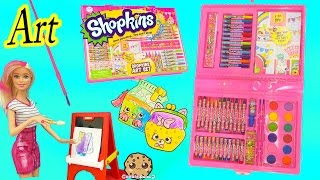 Shopkins Art Set Marker & Water Color Petkins Picture Painting - Toy Unboxing Video Cookie Swirl C
