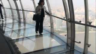 Glass-bottomed skywalk,Oriental Pearl Tower, Shanghai.