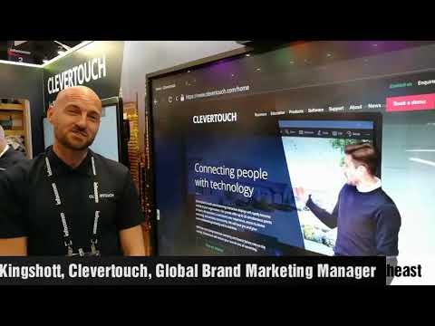 Clevertouch marketing manager Adam Kingshott demonstrating its new E-Cap range