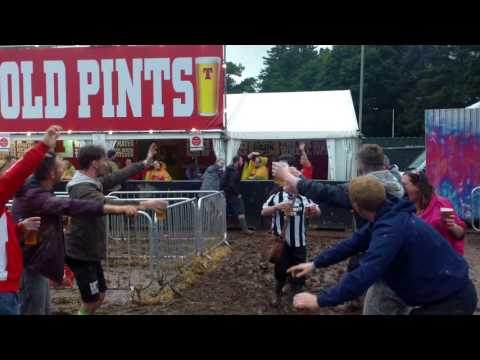 SAFC boys torturing a mag at T in the park.!!