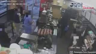 Robber Does Some Stretching Before Robbing A Dunkin Donuts