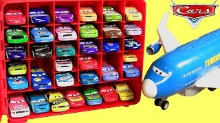 Disney Cars 36 Piston Cup Racers Storage Carrying Case with Plane Everett Car Transporter Turbo Loft