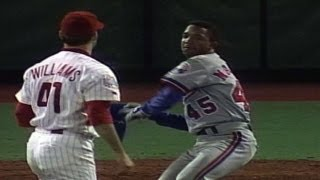 Pedro Martinez gets plunked and charges the mound