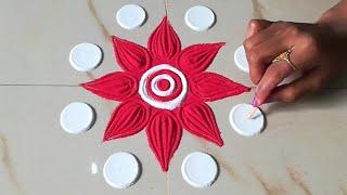Very easy & beautiful Rangoli Designs जो आप भी बना लेंगे    Muggulu/Kolam Designs-