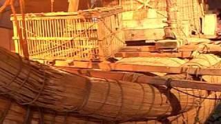 Egyption era RA II reed boat reconstruction of the 1970 Thor Heyerdahl expedition.