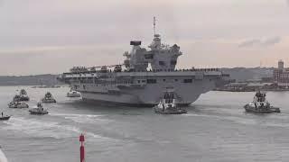 HMS QUEEN ELIZABETH BIGGEST WARSHIP WELCOMED BY THOUSANDS!