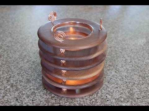 Woodturning Project Copper and Walnut Candle Holder