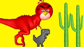 ANGRY BIRDS in STEVE - The JUMPING DINOSAUR   ♫  3D animated game mashup  ☺ FunVideoTV - Style ;-))