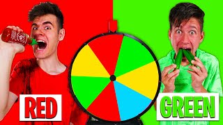 Mystery SpinWheel DECIDES What COLOR FOOD We Eat - Challenge