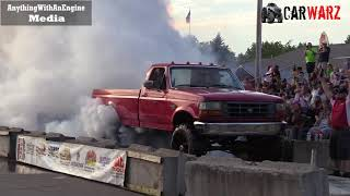 Red Ford Truck Smokey Burnout At Rod Benders Burnout Competition