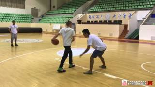Professor hoops w/ staff of Rigorer at Xiamen University before a commercial shoot