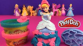 Play Doh Cinderella Elsa Frozen & Rapunzel -  Disney Princesses by DisneyToysReview