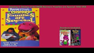 Barney: Families are Special RARE 1998 VHS Opening & Closing
