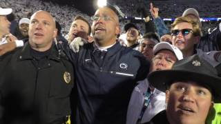 Watch James Franklin sing Penn State alma mater after upset win over Ohio State