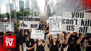 'Sea Of Black' Hong Kong Protesters Demand Leader Step Down