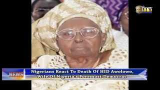 Nigerians React To Death Of HID Awolowo, Wife Of Nigeria's Foremost Democrat
