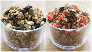 Oil Free - Stovetop Granola Recipe - 2 Ways - Healthy Oats Recipe For Weight loss - Skinny Recipes