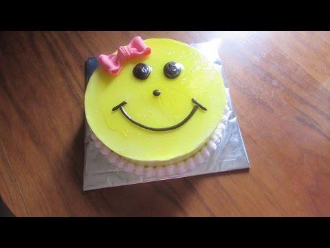 SMILEY CAKE - Black Forest Cake for Children, Birthday Cake Recipe for Girls [Hindi]