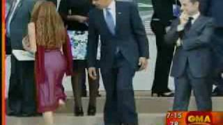 Obama Looking at Girl Checking Out Video