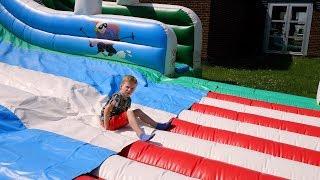 Slide Up: Huge Bouncy Slide Backwards (kids fun)
