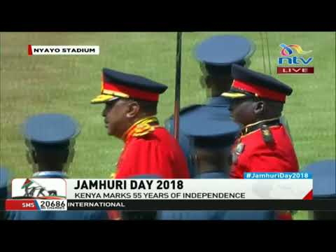 President Kenyatta inspects the guard of honor at the Jamhuri day celebrations