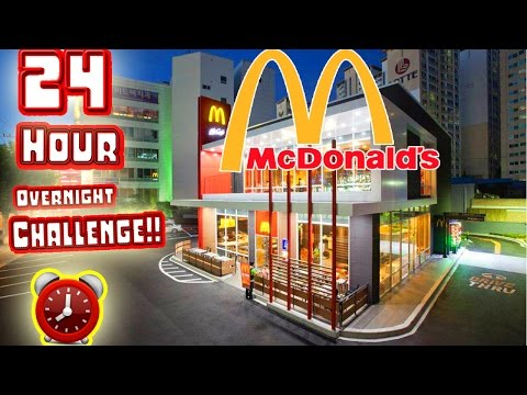 watch 24 HOUR OVERNIGHT CHALLENGE in WORLDS LARGEST MCDONALDS! // SLEEPING IN GIANT MCDONALDS FORT!!
