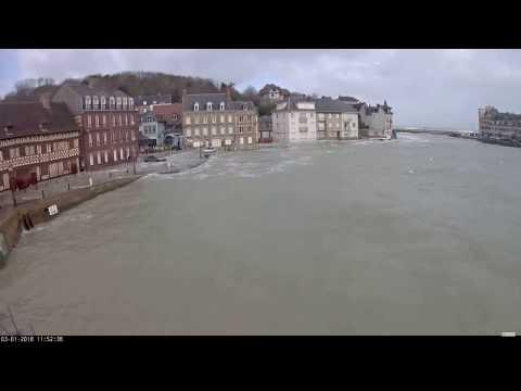 Webcam Saint Valery en Caux Submerssion tempête Eleanor 03 01 2018