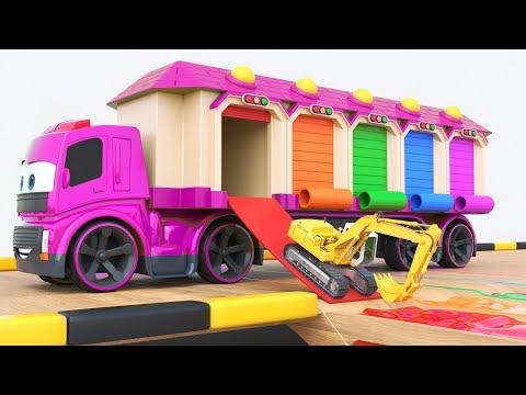 Aprende colores para niños con coloridos garajes y excavadoras Autos para niños