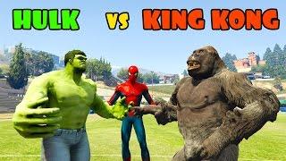 HULK vs KING KONG! Funny superhero contest. Cartoon for kids with spiderman.