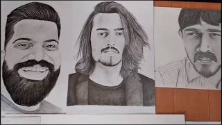 sketches drawing of  Popular Indian Youtubers by Sourav joshi