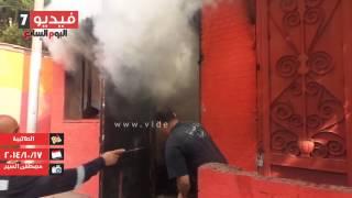 بالفيديو .. انفجار كابل كهرباء أثناء إطفاء حريق نقطة مرور الطالبية