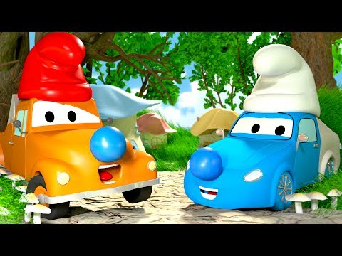 Tom The Tow Truck's Paint Shop: Tyler becomes a SMURF ! | Truck and cars cartoons for kids