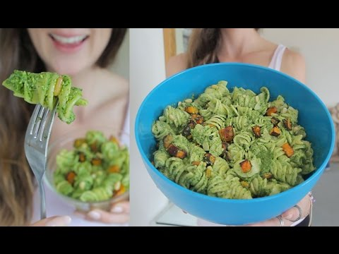Fav Vegan Pesto Pasta - with roast pumpkin & pine nuts