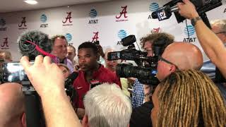 Jalen Hurts joins media, asks Damien Harris postgame question
