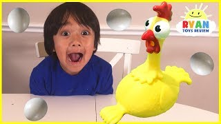 Squawk Chicken Egg Game for kids and Kinder Surprise toys for winner