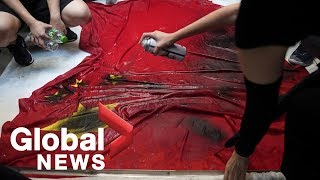 Hong Kong protesters trample Chinese flag, clash with police