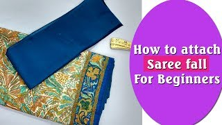 How to attach saree fall DIY hindi tutorial easy method with subtitles
