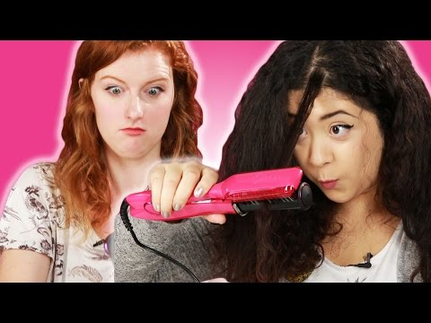 Xxx Mp4 Curly Haired Girls Try Bizarre Hair Straighteners 3gp Sex