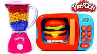 Hamburger Squishy Toy and MIcrowave Kitchen Toy Appliance Playset Learn Colors with Play Doh