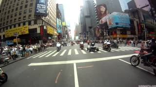 Hollywood Times Square Motorcycle flash mob 2012 Block Party (Time Square footage)