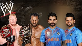 Virat Kohli & Raina VS Brock Lesnar & Jinder Mahal - Extreme Rules Match
