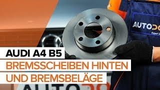 Wie AUDI A4 B5 Bremsscheiben hinten und Bremsbeläge hinten wechseln TUTORIAL | AUTODOC