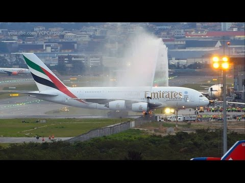 Airbus A380 800 Emirates First landing and Water salute at Guarulhos