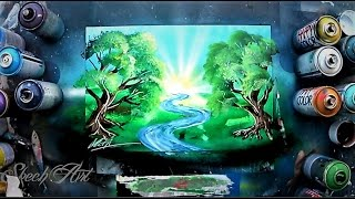 How to make TREES and RIVER - Spray paint tutorial by Skech