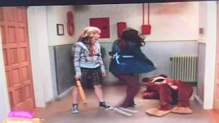 Icarly Sam hitting Freddie in a bear suit