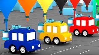 💦4 COCHES coloreados consrtruyen un LAVADO de autos💦  Dibujos animados de coches. Spanish Cartoons