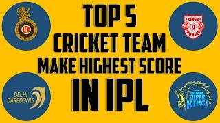 Top 5 cricket team who make highest score in IPL history 2008 - 2016.