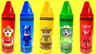 Learn Colors Video with Paw Patrol Crayon Toy Surprises | Fizzy Toy Show