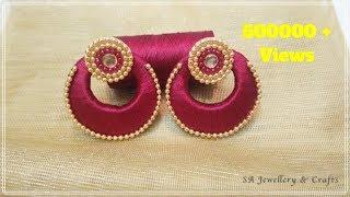 How to make Chandbali Silk Thread Earrings at Home !!